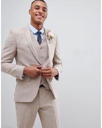 ASOS - Wedding Skinny Suit Jacket In Dusky Pink Herringbone - Lyst