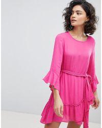 42057e05cfee Vero Moda Leopard Print Kimono Wrap Dress in Brown - Lyst