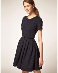 Boutique by Jaeger - Ponti Prom Dress In Flocked Polka Dot - Lyst
