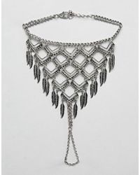 ASOS - Design Chain Hand Harness With Feathers In Burnished Silver - Lyst