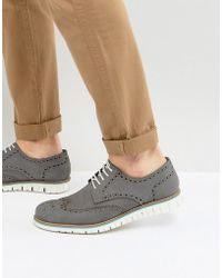 Dune - Baloo Brogues In Grey Suede - Lyst
