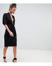 ASOS - Obi Wrap Midi Dress With Kimono Sleeves - Lyst