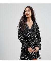 Oh My Love - Polka Dot Wrap Frill Long Sleeve Dress - Lyst