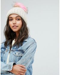 New Look - Faux Fur Pom Bobble Hat - Lyst