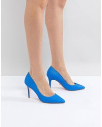 Dune - Pointed Leather Court Shoe In Bright Blue - Lyst