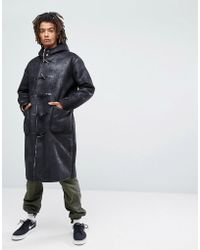 ASOS - Faux Shearling Duffle Coat In Black - Lyst
