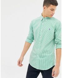 ef01f98a8 Polo Ralph Lauren - Slim Fit Striped Poplin Shirt With Button Down Collar  In Green -