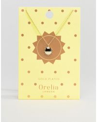 Orelia - Sun Pendant Necklace In Gold - Lyst