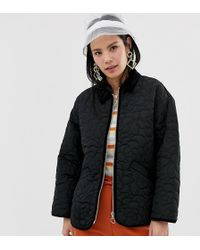 Monki - Quilted Jacket In Black - Lyst
