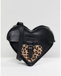 Dr. Martens - Leather Heart Cross Body Bag With Leopard Contrast - Lyst