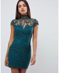 446a8139fbefd Love Triangle - All Over Cut Work Lace High Neck Mini Dress In Green - Lyst