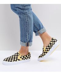 Vans - Fluffy Yellow Checkerboard Slip On Trainers - Lyst