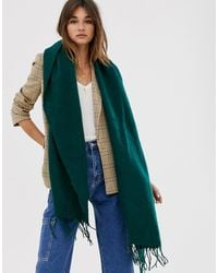 ASOS - Supersoft Long Woven Scarf With Tassels In Green - Lyst