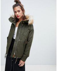 Pull&Bear - Waist Length Fur Hood Parka In Khaki - Lyst