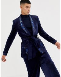 ASOS - Skinny Blazer In Navy Velvet With Embroidery - Lyst