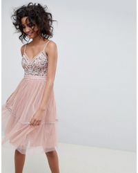 2522c0b405d4 Needle   Thread - Embroidered Tulle Midi Dress With Cami Straps In Vintage  Rose - Lyst
