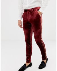 ASOS - Super Skinny Smart Trouser In Burgundy Velvet With Gold Piping - Lyst