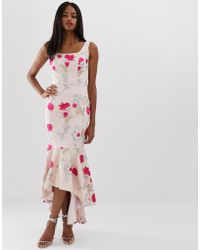 Chi Chi London - Floral Embroidered High Low Dress With Square Neck In Neon Floral - Lyst