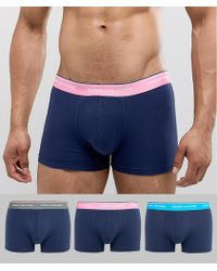 Tommy Hilfiger - 3 Pack Trunks Contrast Waistband In Navy - Lyst
