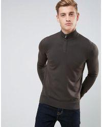 Armani Jeans - Half Zip Logo Jumper Dark Green - Lyst