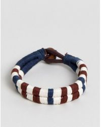 Jack & Jones - Cotton Leather Woven Bracelet - Lyst