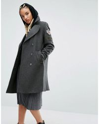 Pull&Bear - Military Coat With Badge Detail - Lyst