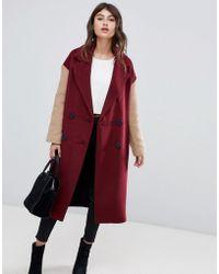 ASOS - Coat With Contrast Blocking - Lyst