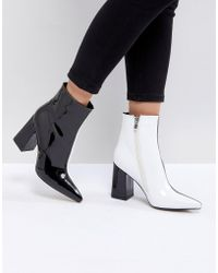 Public Desire - Chaos Black And White Contrast Ankle Boots - Lyst
