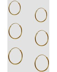 ASOS - Design Pack Of 3 Gold Plated Sterling Silver Hoop Earrings - Lyst