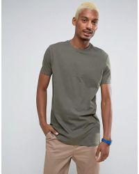 ASOS - Longline T-shirt With Crew Neck In Khaki - Lyst