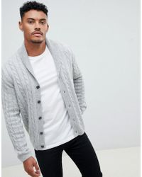 ASOS - Cable Cardigan In Light Gray - Lyst