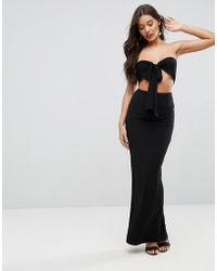 ASOS | Bow Front Bandeau Maxi Dress | Lyst