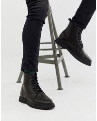 ASOS - Lace Up Boots In Black Leather With Chunky Sole - Lyst