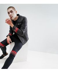 Liquor N Poker - Halloween Embroidered Dripping Blood Washed Black Skinny Jeans - Lyst