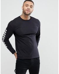 Boohoo - Long Sleeve Checked T-shirt In Black - Lyst