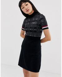 1f9ecd70a2 Fred Perry High Neck Knitted Dress With Houndstooth Print in Black ...