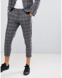 Jack & Jones - Premium Suit Trouser In Tapered Fit Grey Check With Cropped Ankle - Lyst