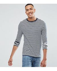 ASOS - Tall Stripe Long Sleeve T-shirt In Navy And White - Lyst