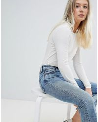 Weekday - Extra Long Sleeve Rib Top In White - Lyst