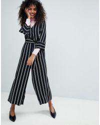 Monki - Striped Wrap Front Jumpsuit - Lyst