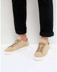 SELECTED - Trainers In Sand Suede With White Sole - Lyst