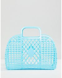 Monki - Plastic Basket Bag In Blue - Lyst