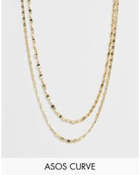 ASOS - Asos Design Curve Multirow Necklace In Mixed Link Chain In Gold - Lyst