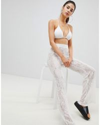 PrettyLittleThing - Lace Beach Trousers - Lyst