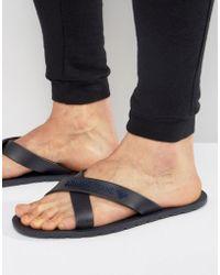 Armani Jeans - Logo Cross Over Flip Flops In Navy - Lyst