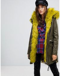 River Island - Faux Fur Lined Parka Coat - Lyst