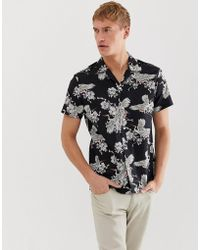SELECTED Revere Collar Shirt With All Over Bird Print In Black