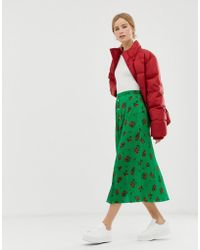 ASOS - Floral Plisse Pleated Midi Skirt With Poppers - Lyst