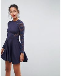 ASOS - Asos Premium Mini Scuba Skater Dress With Lace Sleeves - Lyst