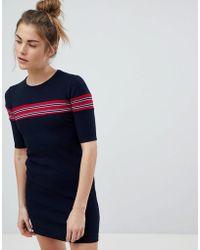 Pull&Bear - Ribbed Stripe Detail Jersey Dress - Lyst
